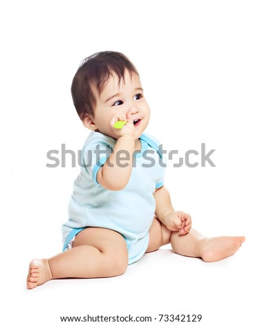 asian baby boy on a white background - stock photo