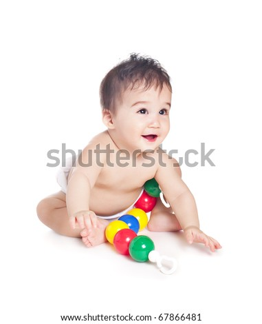 asian baby boy with a toy - stock photo