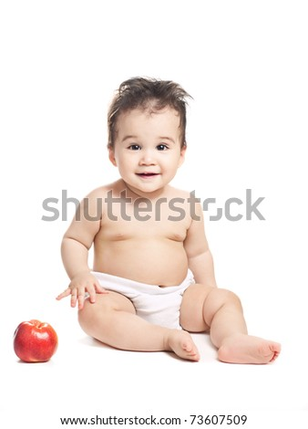 asian baby boy with apple on a white background