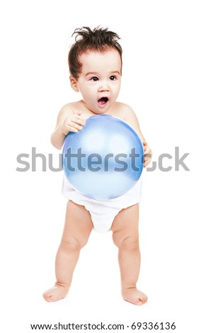 asian baby boy with ball on a white background - stock photo