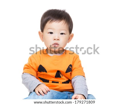 Asian baby boy with halloween dressing - stock photo