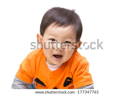 Asian baby boy with halloween party dress - stock photo