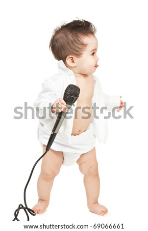 asian baby boy with microphone