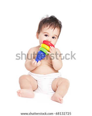 asian baby boy with toy on a white background