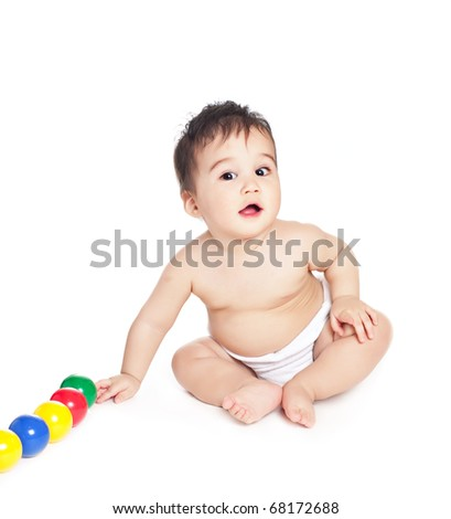 asian baby boy with toy on a white background - stock photo