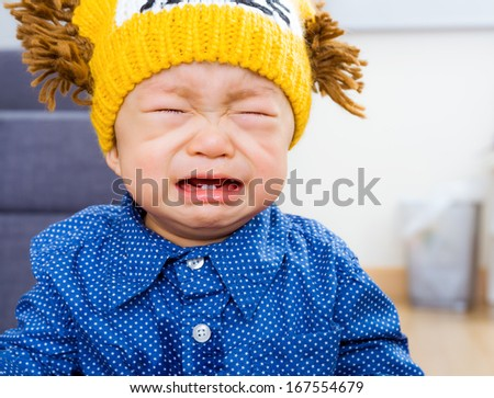 Asian baby boy yelling - stock photo