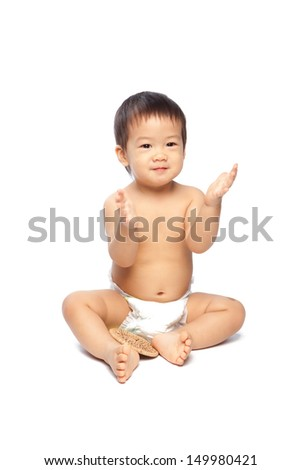 Asian baby clapping isolate on white background - stock photo
