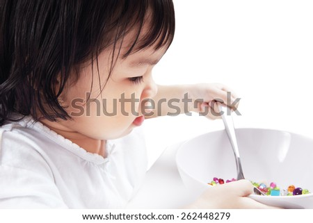 Asian Baby Playing Spoon with Bowl, Isolated in White Background. - stock photo