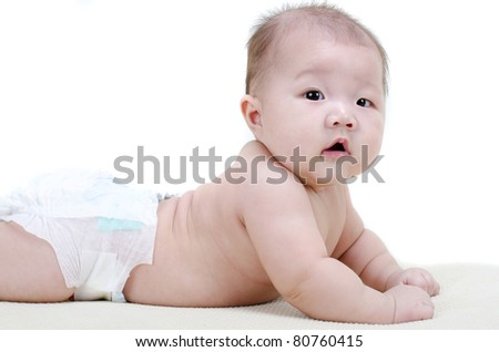 asian baby with isolated white background