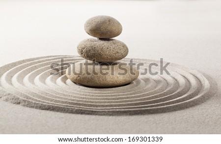 asian balance symbol with feng shui garden - stock photo