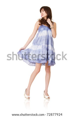Asian beautiful girl in blue dress, isolated on white background. - stock photo