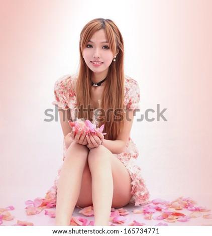 Asian beautiful Girl in flower - stock photo