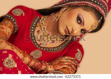 Asian beautiful woman wearing luxurious wedding dress - stock photo