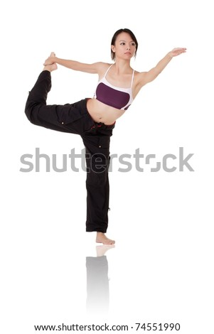 Asian beauty doing expert yoga pose over white background. - stock photo