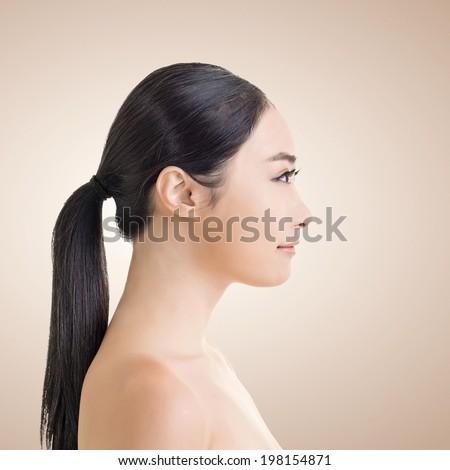 Asian Beauty Face Side View Closeup Stock Photo 202132759