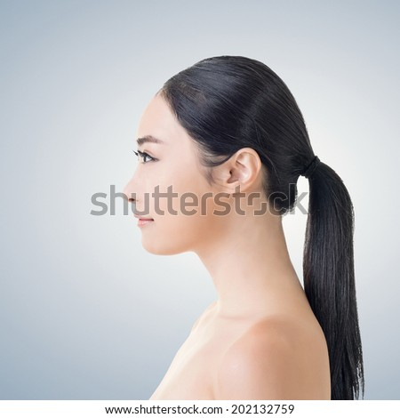 Asian beauty face, side view closeup portrait with clean and fresh elegant lady.