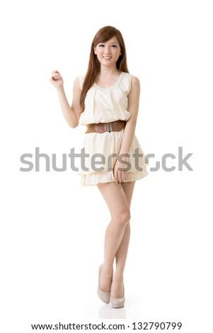 Asian beauty, full length portrait isolated on white background. - stock photo