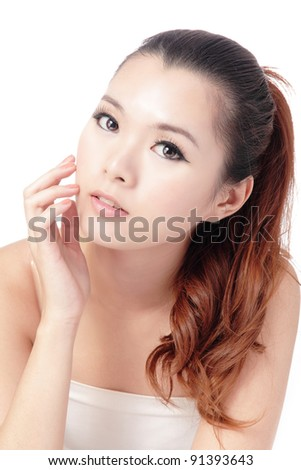 Asian beauty skin care woman face, Beautiful young woman touching her face looking to the side. Isolated on white background