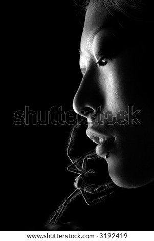Asian beauty with spider crawling on face