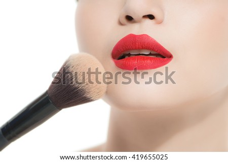 Asian Beauty Woman. Makeup. Cosmetic. Base for Perfect Make-up.Applying Make-up. Soft selective focus.
