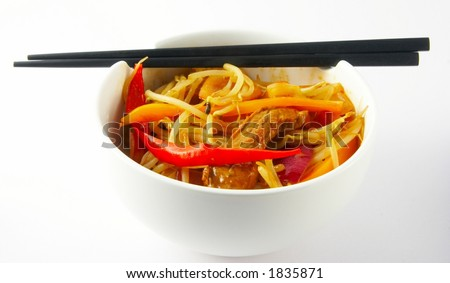 Asian beef and vegetable stir fry - stock photo