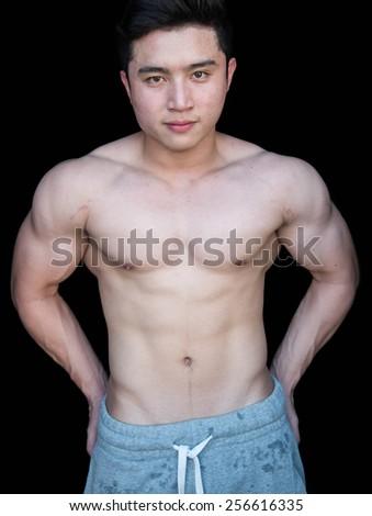 asian bodybuilder - stock photo