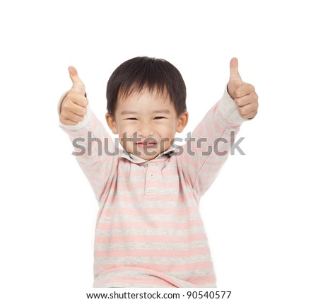 asian boy giving you thumbs up isolated on white background - stock photo