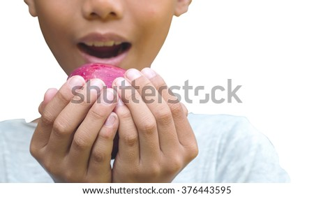 Asian boy hand holding red apple  on white background with save paths.