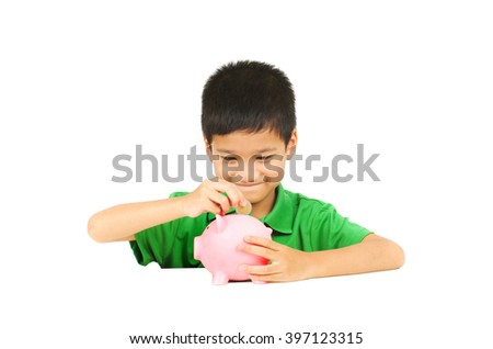 asian boy happy with piggy saving coins, white isolation background - stock photo
