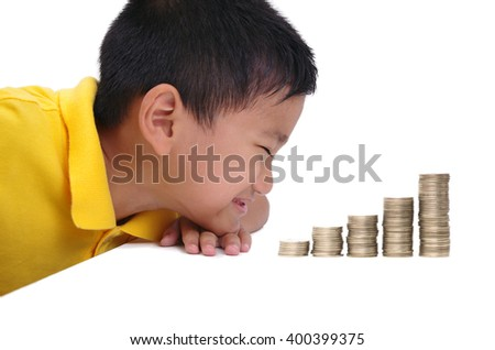 asian boy happy with stack coins, white isolation background - stock photo