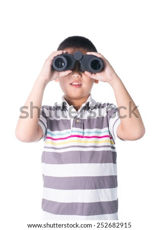Asian boy holding binoculars, isolated on a white background.