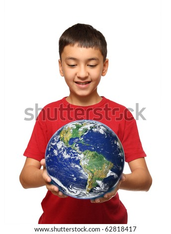 asian boy holding earth palnet isolated on white - stock photo