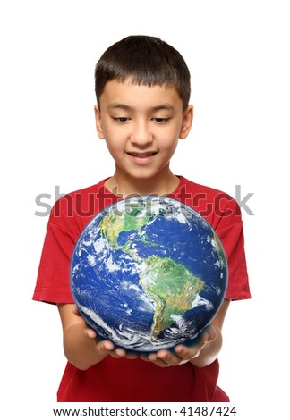 asian boy holding earth planet isolated on white - stock photo