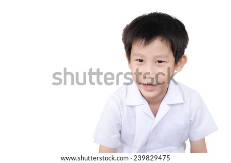 Asian boy in uniform shool isolated on white. - stock photo