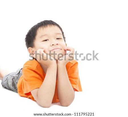 asian boy lying on floor isolated on white - stock photo