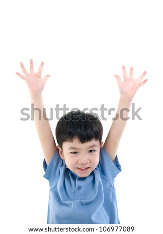 Asian boy raise his hands - stock photo