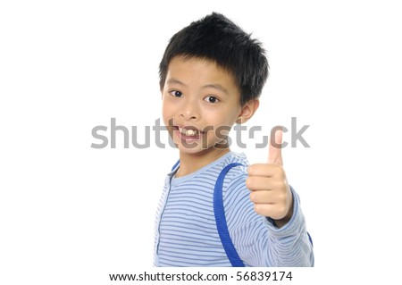 Asian boy shows the sign of ok - stock photo