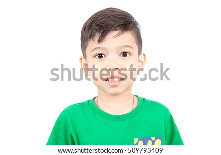 Asian boy smiling on White background