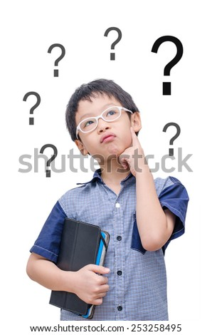 Asian boy thinking with question mark over white background - stock photo