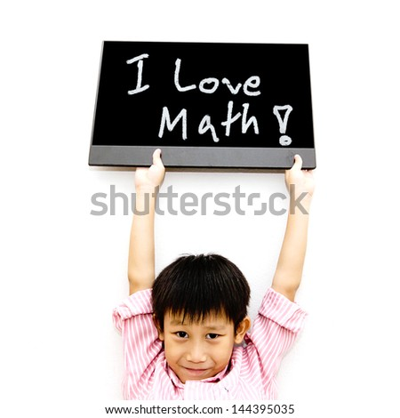 Asian boy with black board - stock photo