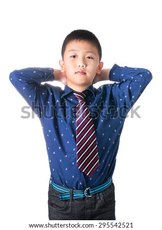 Asian boy with necktie, isolated on white background. - stock photo