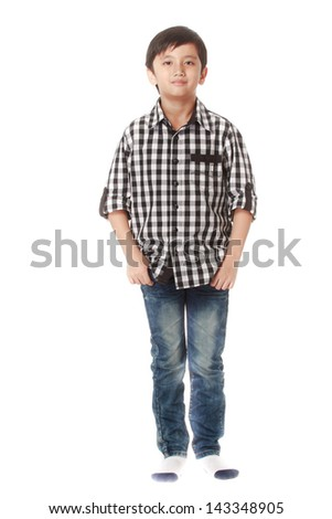 Asian boy with smiling face - stock photo