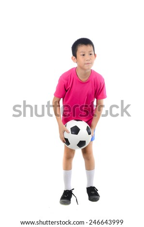 Asian boy with soccer ball - stock photo