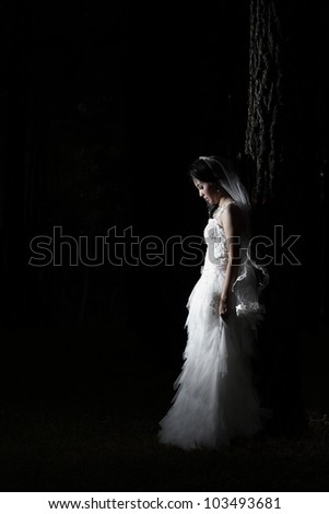 Asian bride with black background