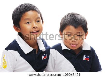 Asian brothers wearing philippines flag