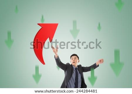 Asian business catch the upward arrow, concept of growth, stock, marketing. - stock photo