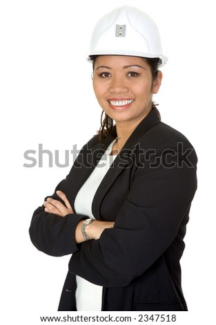 asian business female architect with a smile on her face over a white background - stock photo