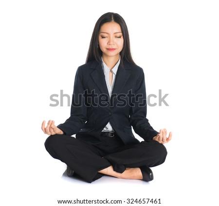 asian business female yoga - stock photo
