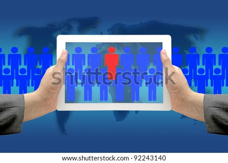 Asian Business Hand hold Touch Screen Pad to Seek person by Electronic Recruitment Process - stock photo
