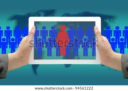 Asian Business Hand hold Touch Screen Pad with Woman in Workplace Concept - stock photo